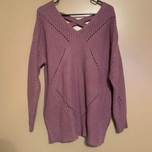 Dry Goods It's Our Time Purple Sweater Size Large